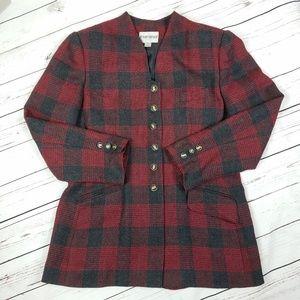 Vintage Red Plaid Button Long Wool Blazer Coat
